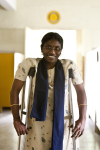 Polio survivor P. Jahanthi enters the Rotary sponsored rehabilitation center in Chennai, Tamil Nadu, India, 8 November 2006. Jahanthi received vocational training at the center where the current emphasis is on training polio survivors to be independent wage earners.