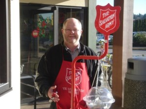 Manning the Sally Ann Christmas kettle